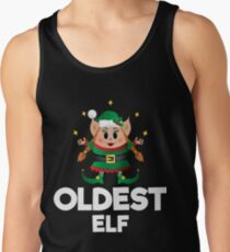 Christmas Elf Costume Squad Merry Xmas Funny Cute Oldest Elf Tank Top