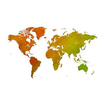 Lemon and Lime Watercolor World Map by Map-Your-World