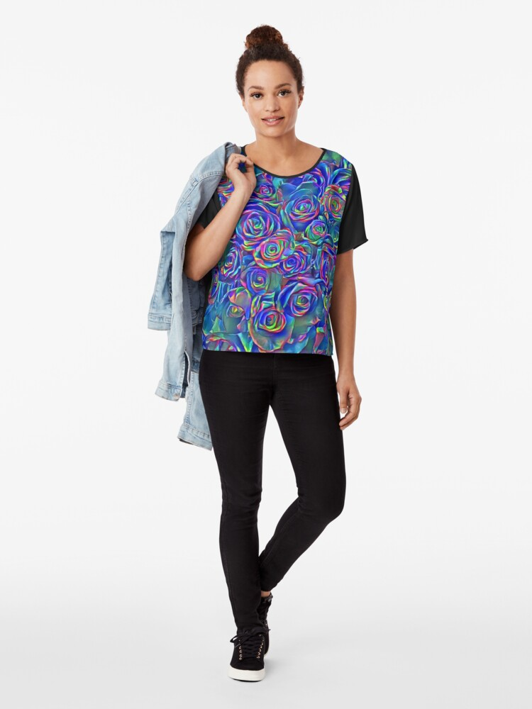 Alternate view of Roses of cosmic lights Chiffon Top