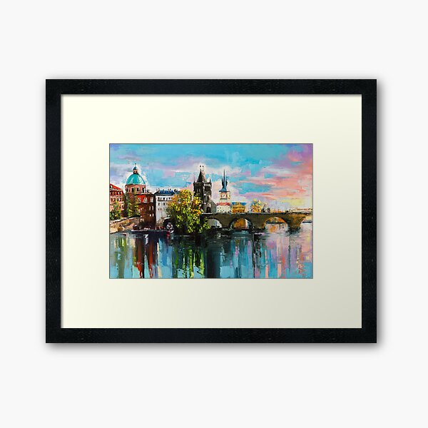 Praga, Evening on the bridge Framed Art Print