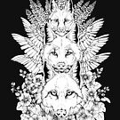 Heraldry Canidae - Black and White by Kellie Lamphere