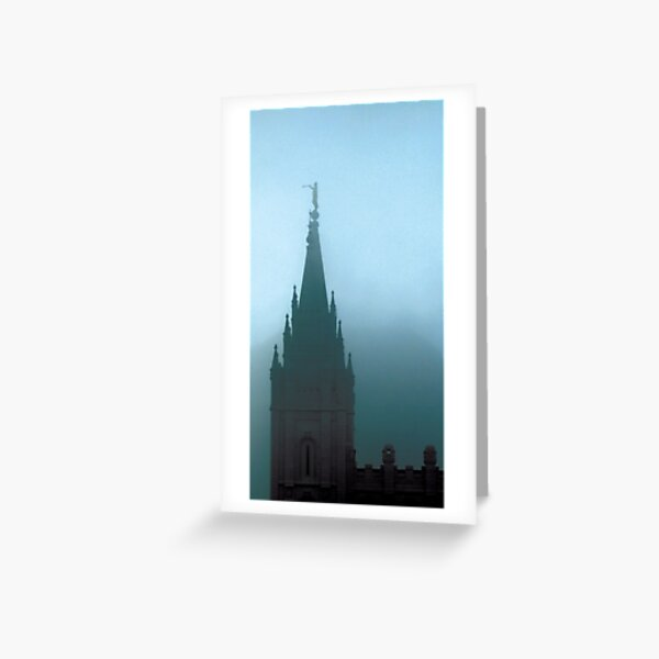 Angel Moroni on top of the Salt Lake Temple (through the fog) - Jerald Simon (Music Motivation - musicmotivation.com) Greeting Card