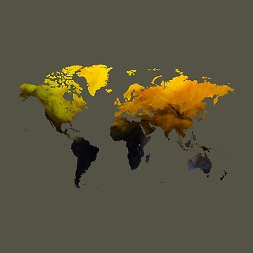 Black and Yellow Orange Ink and Water World Map by Map-Your-World