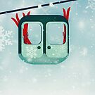 Gondola with skis in the snow by Sybille Sterk