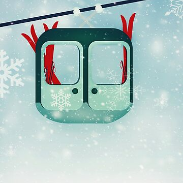 Gondola with skis in the snow by MagpieMagic