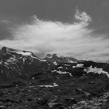 Black and White Norwegian Mountains by studiopico