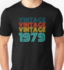 Vintage 40th Birthday Gift Born In 1979 Slim Fit T-Shirt