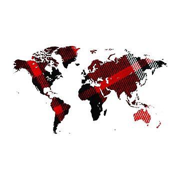 Fiber Art Tartan World Map by Map-Your-World