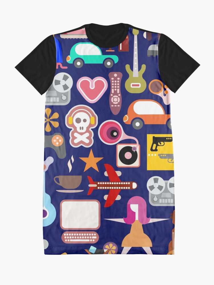 Alternate view of Hobbies Collage Graphic T-Shirt Dress