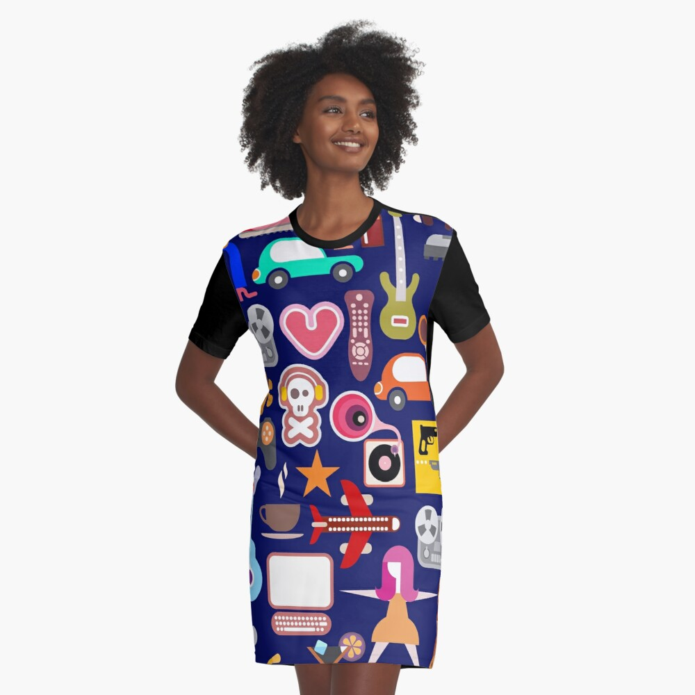 Hobbies Collage Graphic T-Shirt Dress
