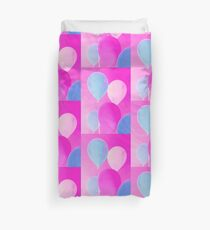 Gift for Teens - Balloony - Neon Pink Blue Balloons Art  Duvet Cover