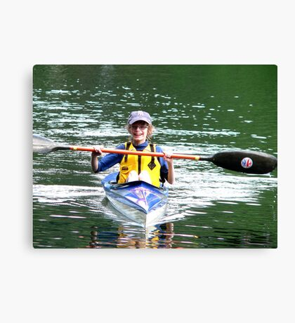 kid in a kayak Canvas Print