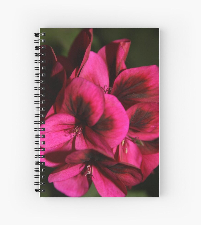 Fuschia Pink And Black Flower Splash Spiral Notebooks By Rejodoal