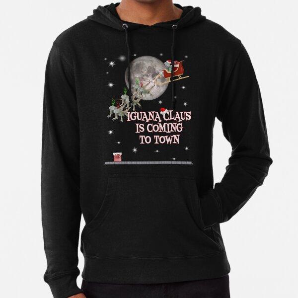 Christmas Iguana T-shirt Funny Iguana Claus Holiday Gift Lightweight Hoodie