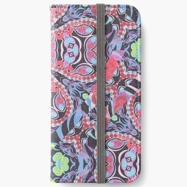 Pencil Print Diagonals Fall Into Winter Design Collection by Green Bee Mee iPhone Wallet