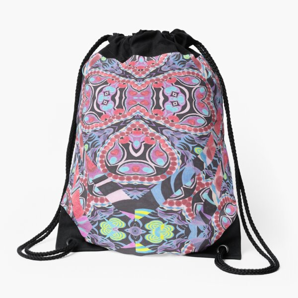 Pencil Print Diagonals Fall Into Winter Design Collection by Green Bee Mee Drawstring Bag