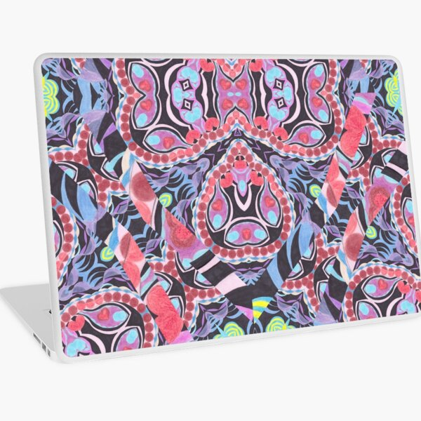 Pencil Print Diagonals Fall Into Winter Design Collection by Green Bee Mee Laptop Skin