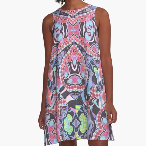 Pencil Print Diagonals Fall Into Winter Design Collection by Green Bee Mee A-Line Dress