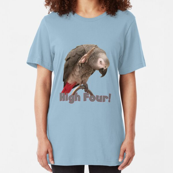 Funny African Grey Parrot Waving High Four Slim Fit T-Shirt