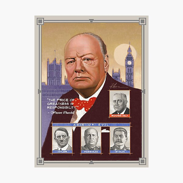 Bild Weltkrieg 2 British Premierminister Gerahmter Druck Winston Churchill