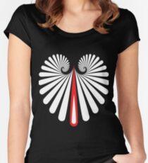 Muster Spirale Träne Weiss Rot Tailliertes Rundhals-Shirt