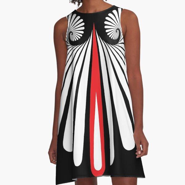 Muster Spirale Träne Weiss Rot A-Linien Kleid
