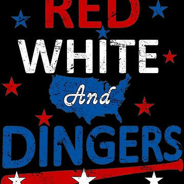 Red White and Dingers Baseball Softball Digital Art by TeeCreations