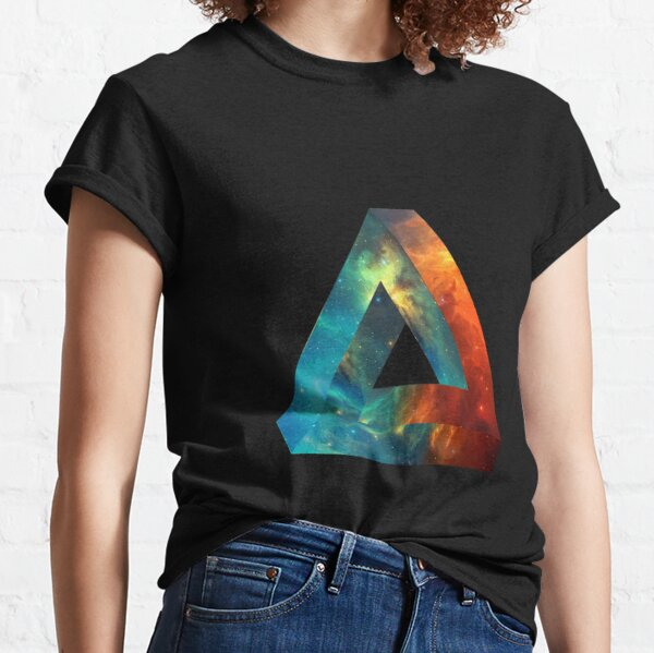 Abstract Geometry: Penrose Nebula (Fire Red/Orange/Blue) Classic T-Shirt