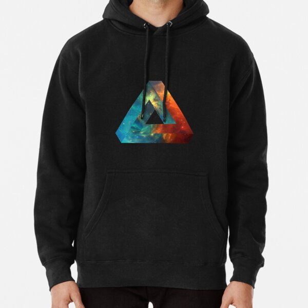 Abstract Geometry: Penrose Nebula (Fire Red/Orange/Blue) Pullover Hoodie