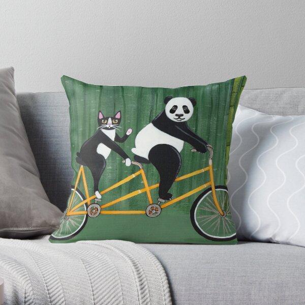 Panda and Cat Bicycle Tandem Throw Pillow