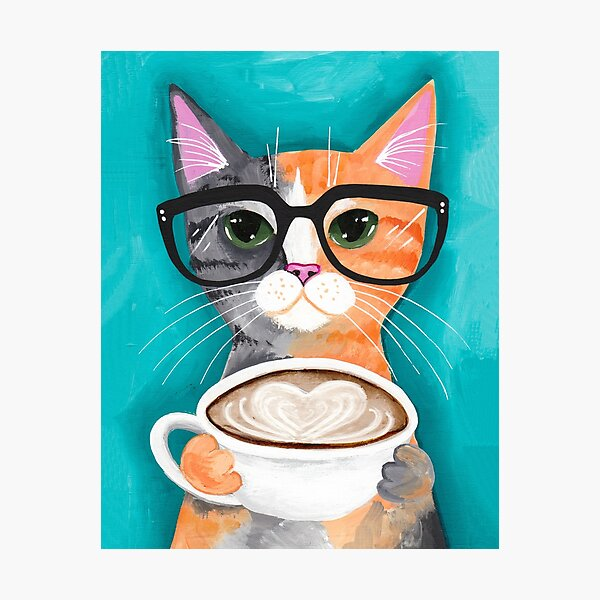 Kitten's Latte of Love Photographic Print