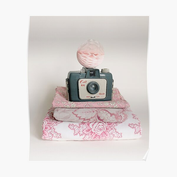 Vintage camera with pretty fabrics Poster