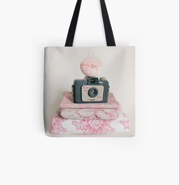 Vintage camera with pretty fabrics All Over Print Tote Bag
