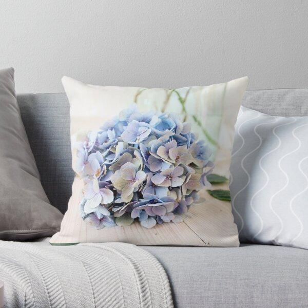 Pretty blue hydrangea flower Throw Pillow
