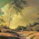 Deer on the Road by Walter Colvin