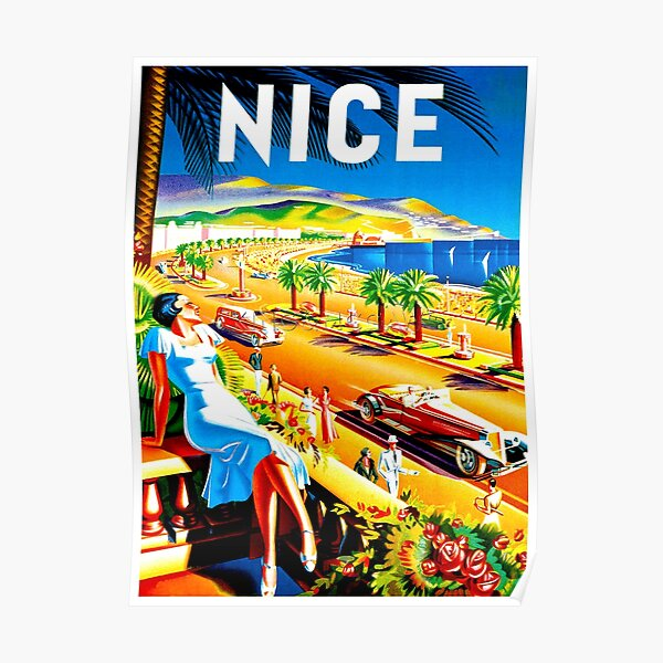 NICE : Vintage French Riviera Travel Advertising Print Poster