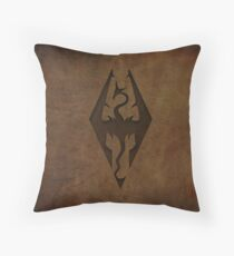 Skyrim Worn Leather Emboss Throw Pillow