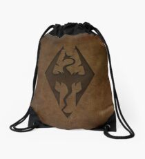 Skyrim Worn Leather Emboss Drawstring Bag