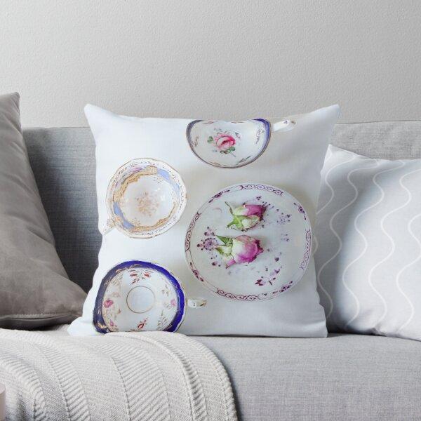 Pretty Vintage Teacups Throw Pillow