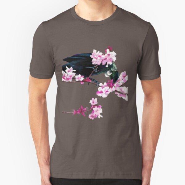 Tui Feeding on Cherry Blossoms: Metallic Slim Fit T-Shirt
