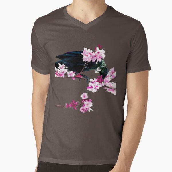 Tui Feeding on Cherry Blossoms: Metallic V-Neck T-Shirt