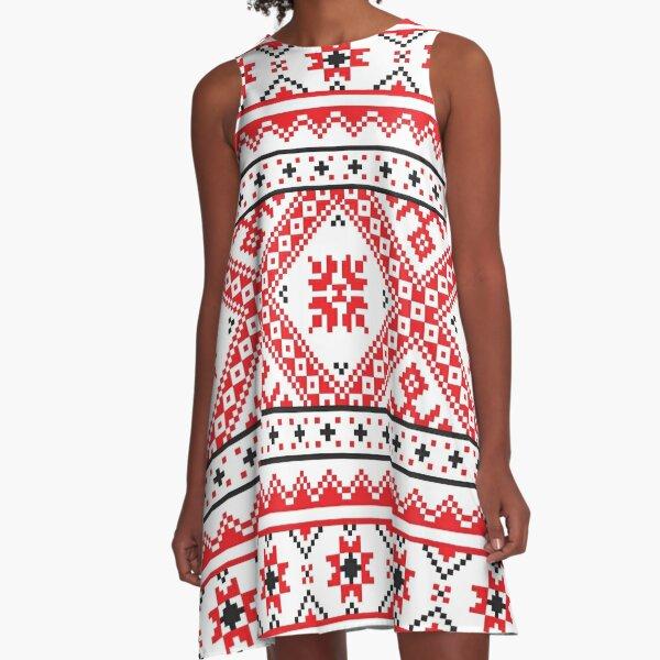 #Ukraine #Pattern - Ukrainian Embroidery: вишивка, vyshyvka #UkrainianPattern #UkrainianEmbroidery A-Line Dress
