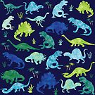 Watercolor Dinosaur Blues Greens Dino Pattern by SamAnnDesigns