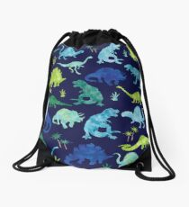 Watercolor Dinosaur Blues Greens Dino Pattern Drawstring Bag