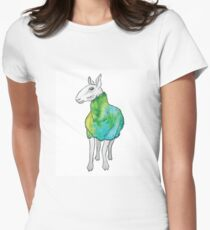 Psychedelic sheep: Blue Faced Leicester, teal/green Womens Fitted T-Shirt
