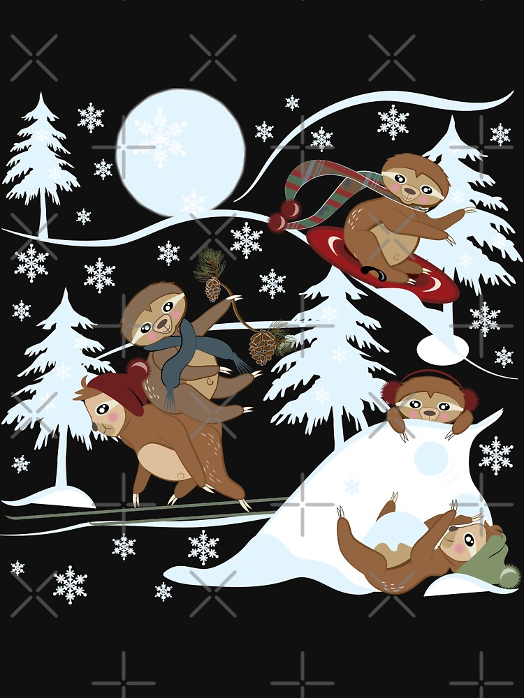 Playful Sloth Snow Play, Winter, Snowflakes by CreativeContour