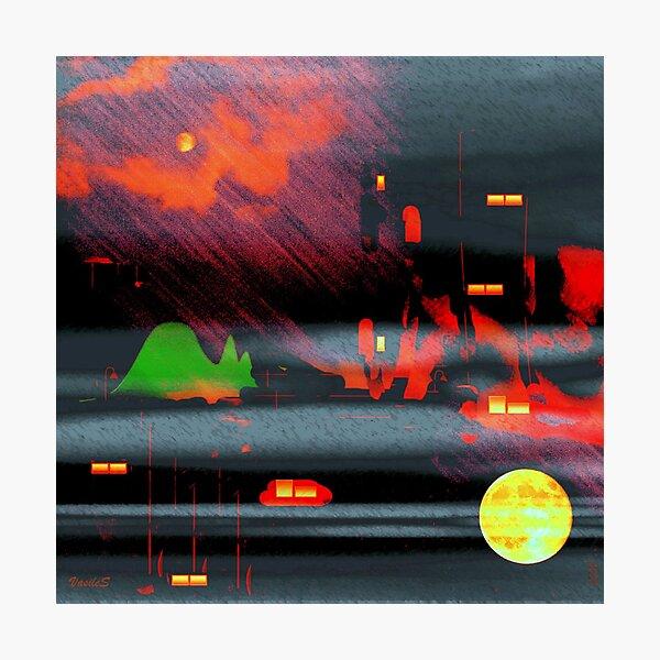 Square vision: redundant moon at the crack of dawn Photographic Print