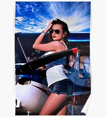 Fashion Girl and Airplane Fine Art Print Poster