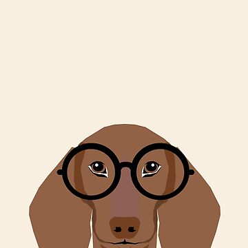 Dana - Dachshund portrait print with glasses - cute dog print by PetFriendly