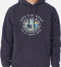 Save The Ocean Keep the Sea Plastic Free Turtle Scene Pullover Hoodie